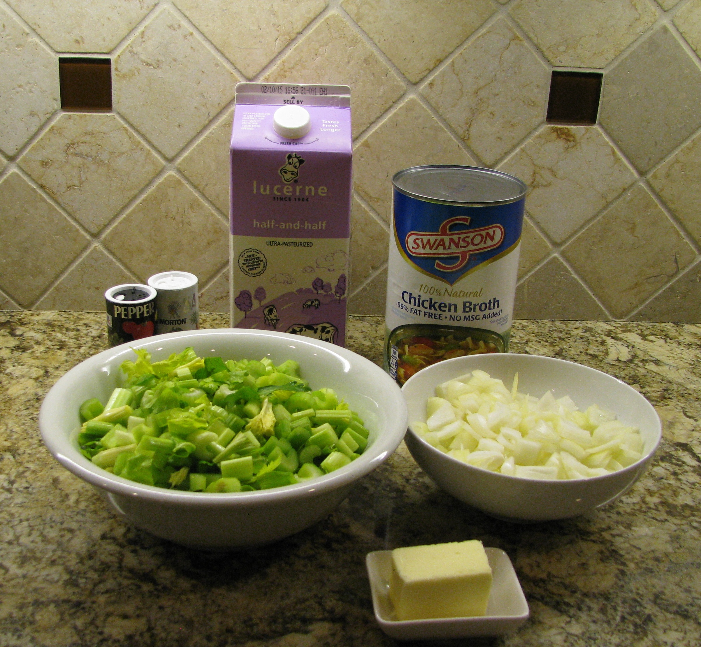 Ingredients ready to go for celery soup