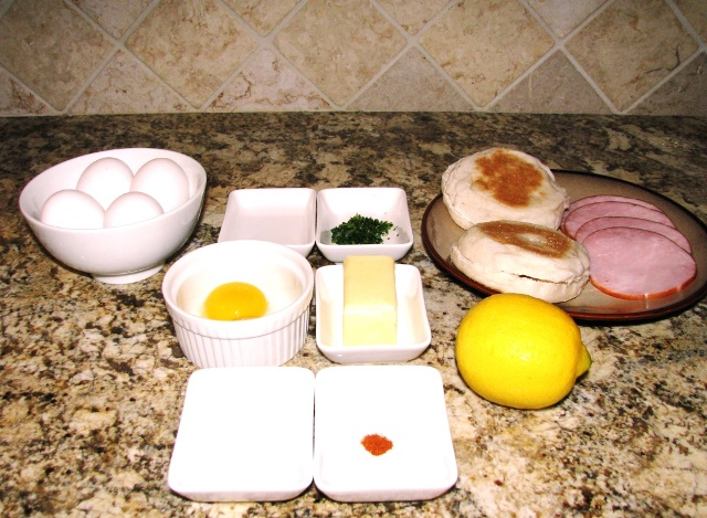 PaulaReyne.com Eggs Benedict ingredients 640x469