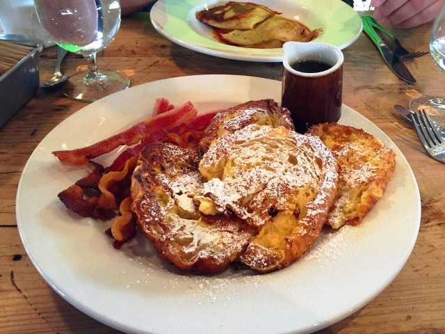 PaulaReyne.com Croissant French Toast with bacon 640x480