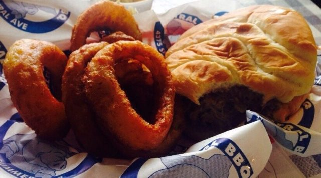 PaulaReyne.,com Pulled Pork w Onion rings at Central BBQ in Memphis 640x356